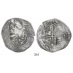 Potosi, Bolivia, cob 8 reales, Philip III, assayer Q, Grade 2+.