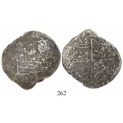 Potosi, Bolivia, cob 8 reales, Philip III, assayer Q, Grade 3 (12 points), with hand-signed certific