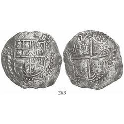 Potosi, Bolivia, cob 8 reales, 1617M, Grade 2+.