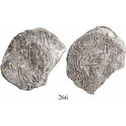 Potosi, Bolivia, cob 8 reales, 1618PAL, Grade 3, rare.