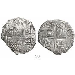 Potosi, Bolivia, cob 8 reales, 1618T, Grade 3+.