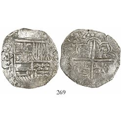 Potosi, Bolivia, cob 8 reales, 1619T, quadrants of cross transposed, Grade 1.