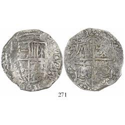 Potosi, Bolivia, cob 8 reales, 1619T, Grade 2.