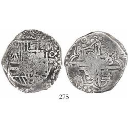 Potosi, Bolivia, cob 8 reales, (162)0T, upper half of shield transposed, Grade 1.