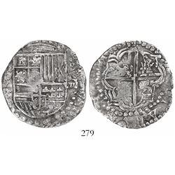 Potosi, Bolivia, cob 8 reales, Philip III, assayer T, quadrants of cross transposed, Grade 1.