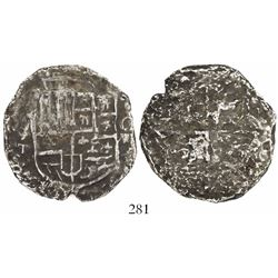 Potosi, Bolivia, cob 8 reales, Philip III, assayer T, upper half of shield transposed, Grade 3 (9 po