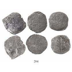 Lot of 3 Potosi, Bolivia, cob 8 reales, Philip III, assayers R (curved leg) and M (2), all Grade 2.