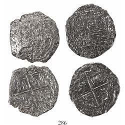 Lot of 2 Potosi, Bolivia, cob 8 reales, Philip III, assayers not visible, both Grade 3.