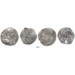 WITHDRAWN -Lot of 2 Potosi, Bolivia, cob 4 reales, Philip III, assayers RL (curved leg) Q, Grade 1