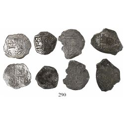 Lot of 4 cob 4R (three Potosi and one Mexico), Philip III, assayers not visible, Grade 2