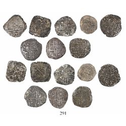 Lot of 8 Potosi, Bolivia, cob 4 reales, Philip III, assayers not visible, Grades 3 and 4 (5 to 13 po