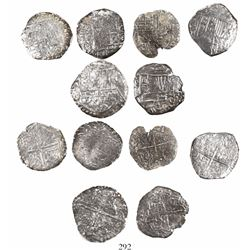 Lot of 6 Potosi, Bolivia, cob 4 reales, Philip III, assayers not visible, Grade 3 (estimated), with