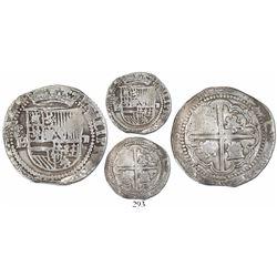 """Potosi, Bolivia, cob 2 reales, Philip II, assayer L (first period, """"Lima style""""), Grade 1."""