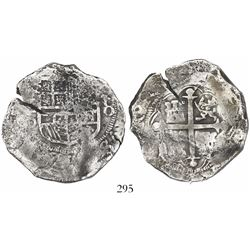 Mexico City, Mexico, cob 8 reales, Philip III, assayer D, Grade 1, very low serial number (second co