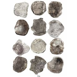 Lot of 6 Mexico City, Mexico, cob 8 reales, Philip III, assayer D or not visible, Grades 2 (1) and 3