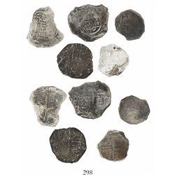 Lot of 5 Mexico City, Mexico, cob minors (three 4R and two 2R), Philip III, assayers not visible, Gr