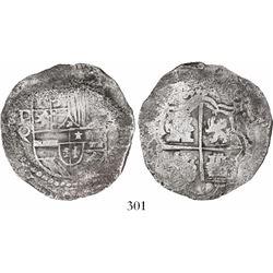 Potosi, Bolivia, cob 8 reales, Philip III, assayer Q, Grade 2, low serial number.