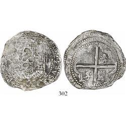 Potosi, Bolivia, cob 8 reales, Philip II, assayer C? (very rare, if so), Grade 3.