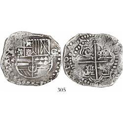 Potosi, Bolivia, cob 8 reales, Philip III, assayer not visible, backwards mintmark, quadrants of cro