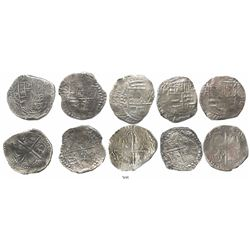 Lot of 5 Potosi, Bolivia, cob 8 reales, Philip III, various assayers (where visible), all Grade 1.