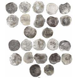 Lot of 12 Potosi, Bolivia, cob 8 reales, Philip II and III, assayers not visible, all Grade 2.