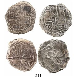 Lot of 2 Potosi, Bolivia, cob 8 reales, Philip III, assayer T and not visible, Grade 3 (one with Gra