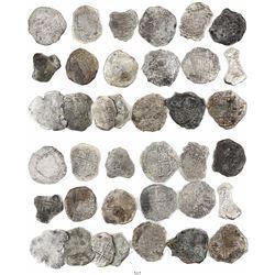 Lot of 19 Potosi, Bolivia, cob 8 reales, Philip III, assayers not visible, all Grade 4 (some Grade-3