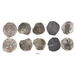 Lot of 5 Potosi, Bolivia, cob 4 reales, Philip III, various assayers (where visible), all Grade 2.