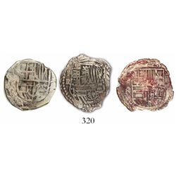 Lot of 3 Potosi, Bolivia, cob 2 reales, Philip III, assayers R and not visible, all Grade 1.
