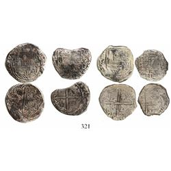 Lot of 4 Potosi, Bolivia, cob 2 reales, Philip II and III, assayers B, M and not visible, Grades 1 (