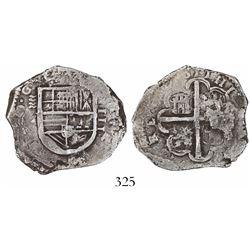 Valladolid, Spain, cob 4 reales, (1)611(H), rare.