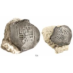 Mexico City, Mexico, cob 8 reales, Philip IV, assayer not visible (P), fused to a piece of coral (as