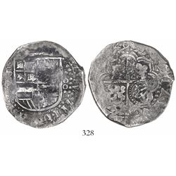 Potosi, Bolivia, cob 8 reales, (16)49(Z or O), with crowned-L countermark on cross.