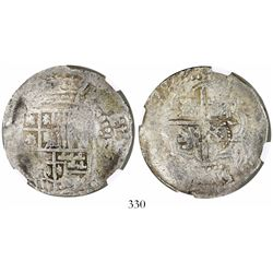 Potosi, Bolivia, cob 8 reales, 1649(Z or O), with crowned-L countermark on cross, encapsulated NGC G