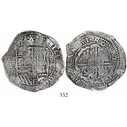 Potosi, Bolivia, cob 8 reales, •1•6•5•0•, assayer O, with crowned-L countermark on cross, rare.