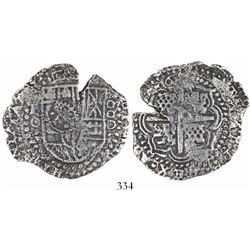 Potosi, Bolivia, cob 8 reales, 1650O, with crowned-•F• countermark on shield.