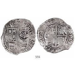 Potosi, Bolivia, cob 8 reales, 1651O, with crowned-•F• countermark on shield.