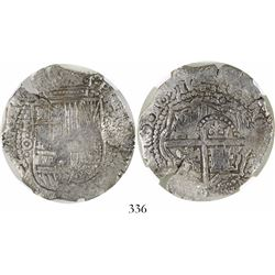 Potosi, Bolivia, cob 8 reales, 1651O, with crowned-(?) countermark on cross, encapsulated NGC Genuin