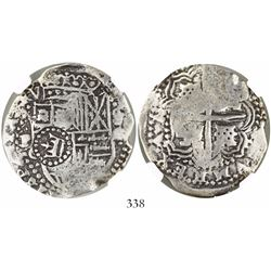 Potosi, Bolivia, cob 8 reales, (1650-1)O, with crown-alone (common) countermark on shield, encapsula