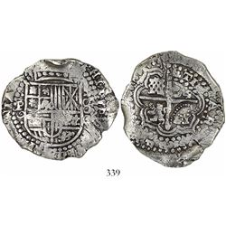 Potosi, Bolivia, cob 8 reales, (1650-1)O, with crowned-(?) countermark on cross, encapsulated NGC Ge