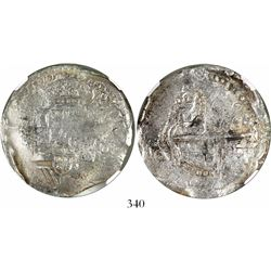 Potosi, Bolivia, cob 8 reales, (1650-1)O, with crowned-L countermark on cross, encapsulated NGC Genu