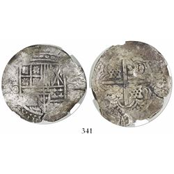 Potosi, Bolivia, cob 8 reales, (1650-1)O, with arms countermark on cross, encapsulated NGC Genuine /