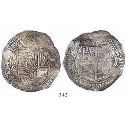 Potosi, Bolivia, cob 8 reales, (1650-1)O, with crown-alone (common) countermark on shield.