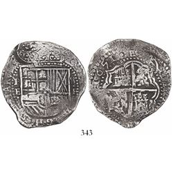 Potosi, Bolivia, cob 8 reales, 1651E, with crowned-•F• countermark on shield.