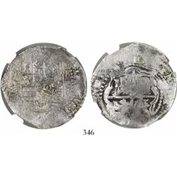 Potosi, Bolivia, cob 8 reales, (1651-2)E, with crown-alone (common) countermark on shield, encapsula