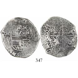Potosi, Bolivia, cob 4 reales, (1649-51)O, with crowned-•F• (4 dots variety) countermark on shield.