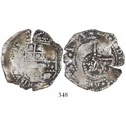 Potosi, Bolivia, cob 4 reales, 1651E, with crowned-L countermark on cross.