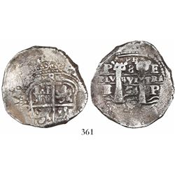 Potosi, Bolivia, cob 8 reales, 1654E, small •PH• at top.