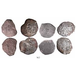 Lot of 4 Potosi, Bolivia, cob 8 reales, 1652-4E.