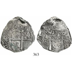 Potosi, Bolivia, cob 4 reales, 1653E, PH at top, rotated denomination 4.